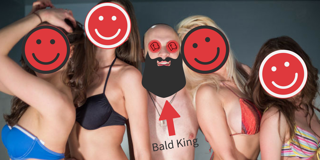 Bald guy with girls